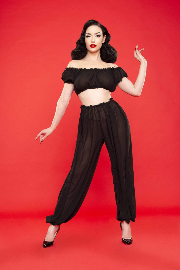Black Loungewear Betty Page Set