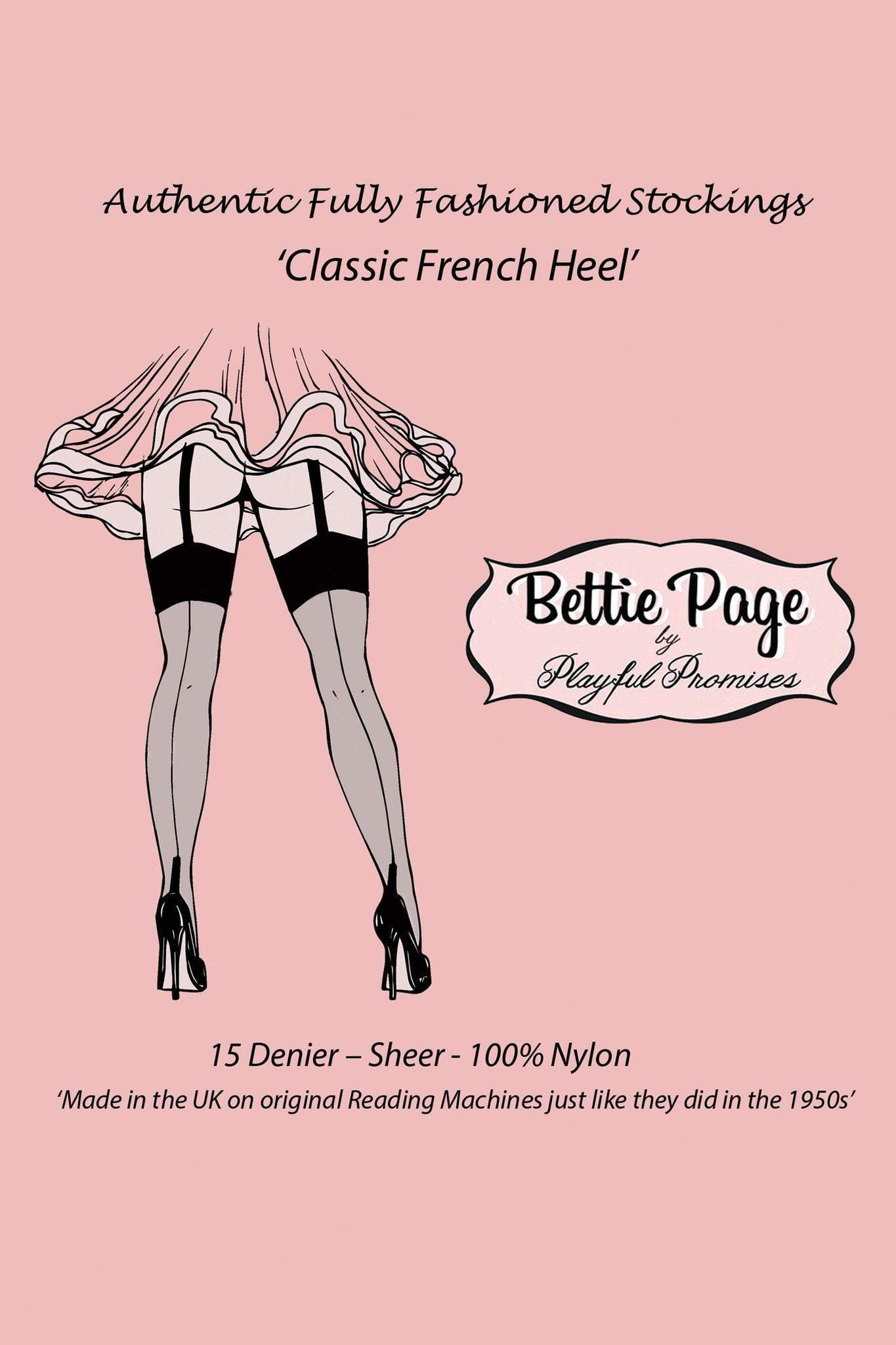 e3a8ab189c1 Bettie Page Fully Fashioned Nylon Point Heel Stockings - Black ...