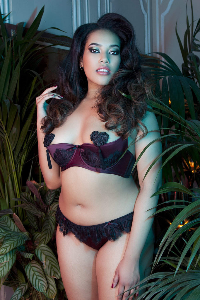 Marlene Wine 1/4 Cup Bra with Lace Curve