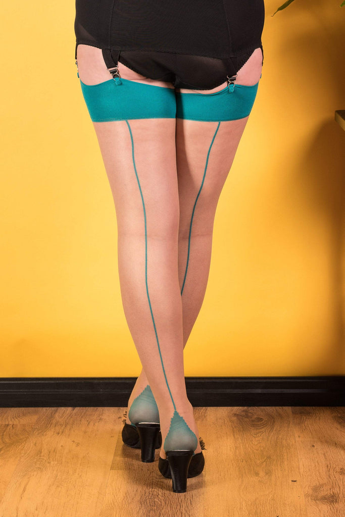What Katie Did Seamed Stockings Teal