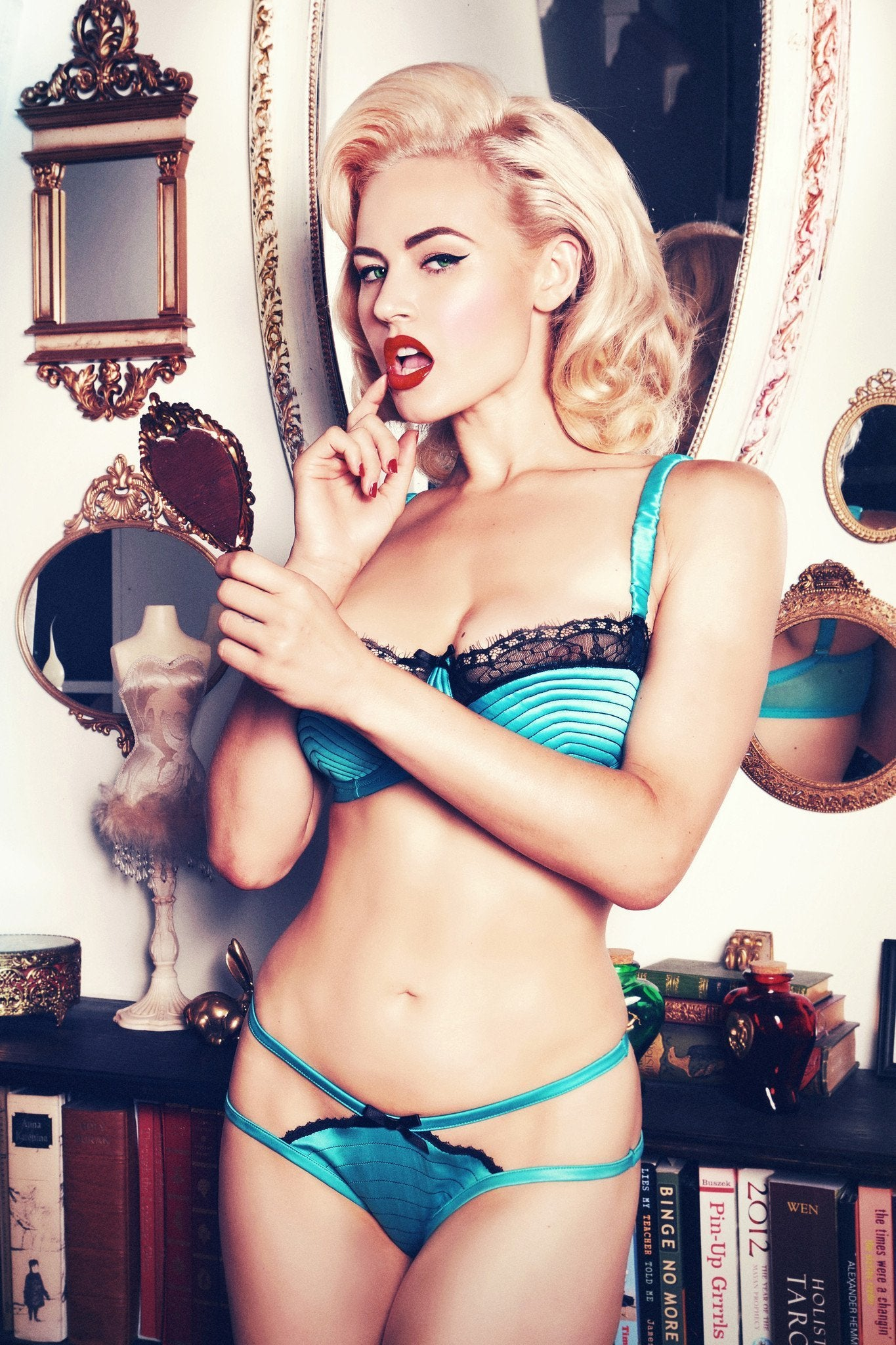 f4b1f3d439 teal green bra balconette vintage retro mesh satin black lace bow full bust  ...