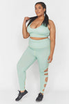 Wolf & Whistle Green Long Strappy Curve leggings