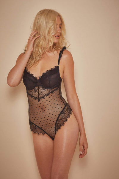 94d6eaaf04 Wolf   Whistle Aime Dot Mesh and Lace Body Black