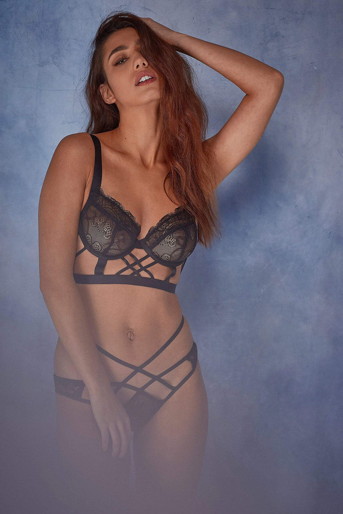 Wolf & Whistle Assa lace cut out longline bra B - F