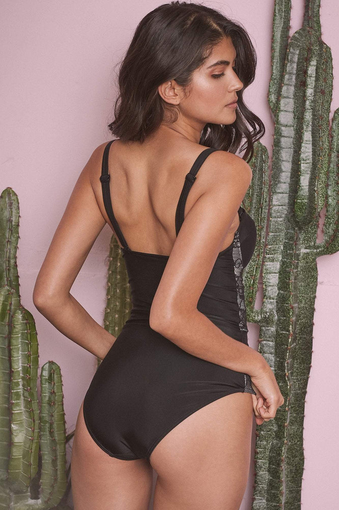 Wolf & Whistle Mila Lace Panel Control Swimsuit