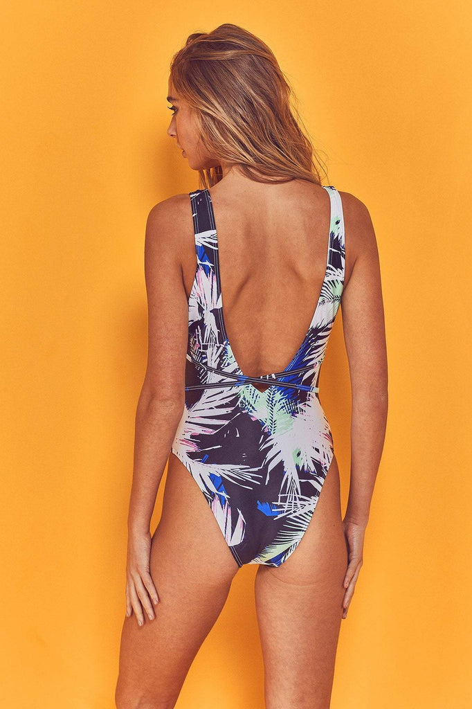 Wolf & Whistle Amara 80s Palm Print Swimsuit
