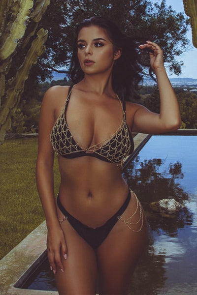 d584443e73 Wolf   Whistle Goldie black triangle bikini top with removable chain ...