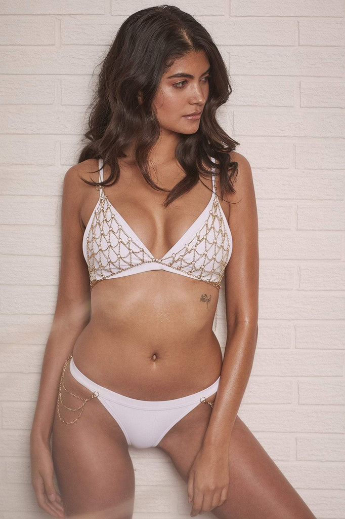 Wolf & Whistle Goldie white triangle bikini top with removable chain B - F Cups
