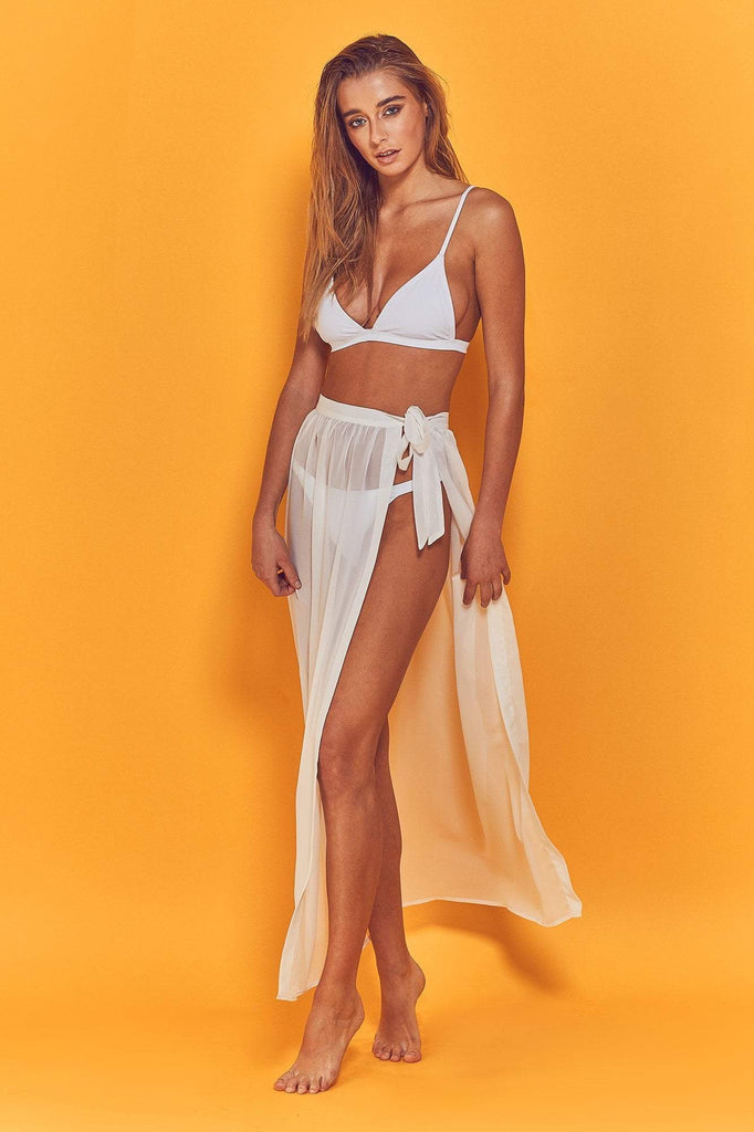 Wolf & Whistle Dena Wrap Beach Skirt White