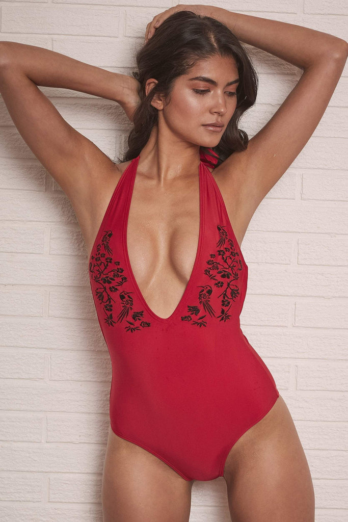 Wolf & Whistle Lana Red Embroidered Plunge Swimsuit