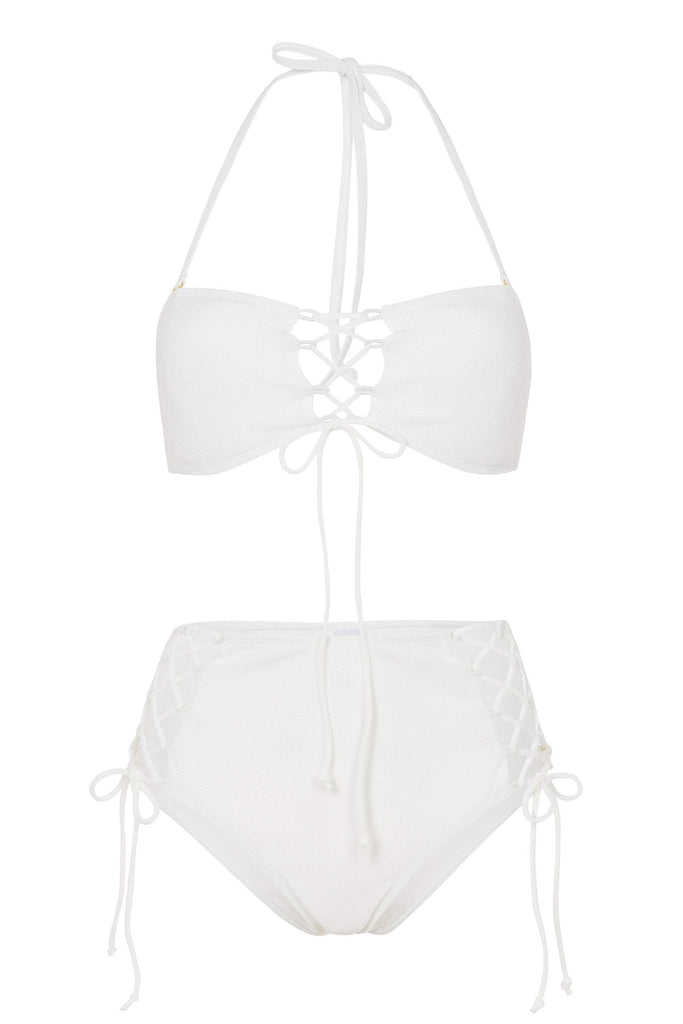 Wolf & Whistle White Textured Lace Up Bikini Brief