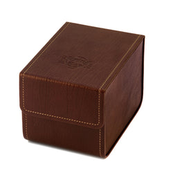 Case for guitar strings, dark brown, closed