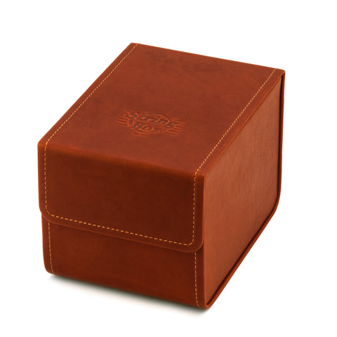 Case for guitar strings, cognac leather, closed