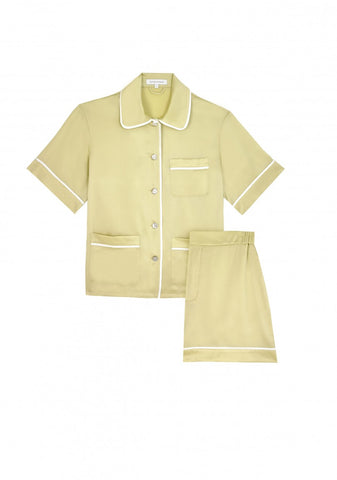 MILLICENT CAMOMILE SILK SHIRT AND SHORT SET