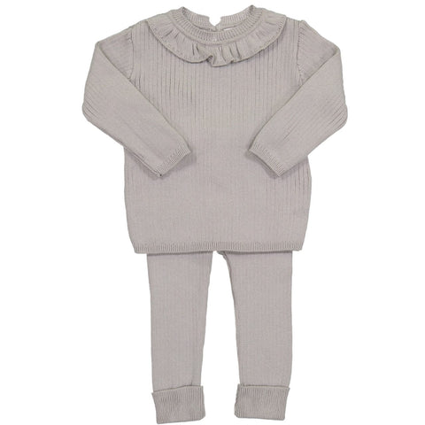 Ruffle Collar Ribbed Knit Set