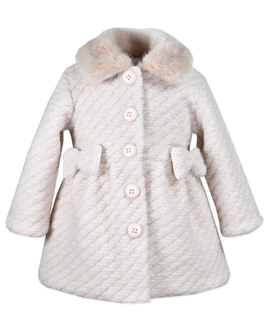 Widgeon Pink Coat with Furry Collar and Bows
