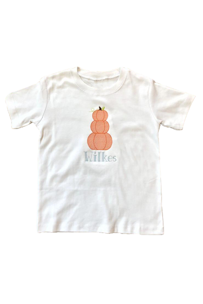 Stacked Pumpkin Embroidery Shirt