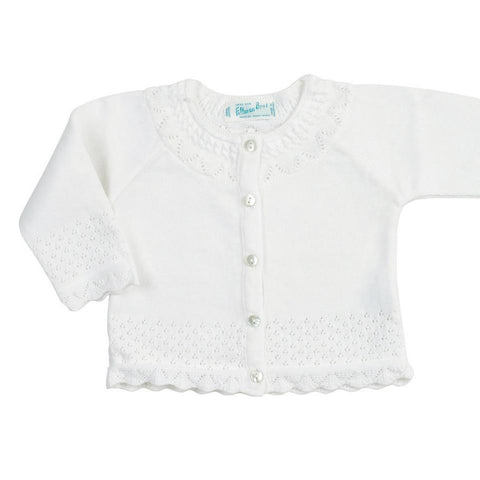 Pointelle Ruffle Knit Cardigan