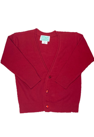Julius Berger Boy's V-Neck Red Cotton Cashmere Cardigan