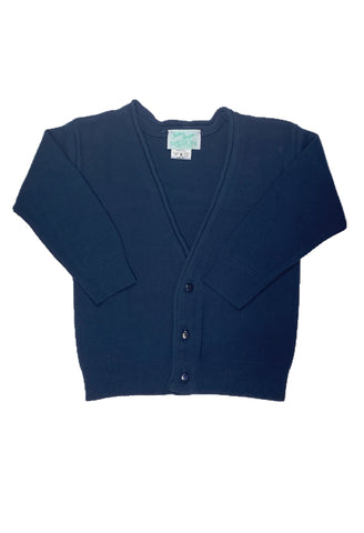 Julius Berger Boy's V-Neck Navy Cotton Cashmere Cardigan