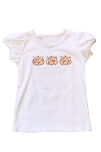 Girl's Pumpkin Appliquéd Shirt