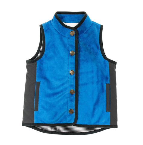 Vest in Royal Blue with Grey Piping and Quilting