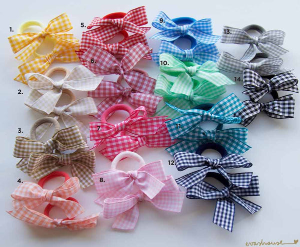 Mini Gingham Bow Hair Ties