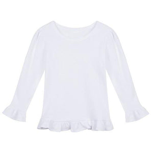 Girl's Long Sleeve Blank Ruffled T-Shirt
