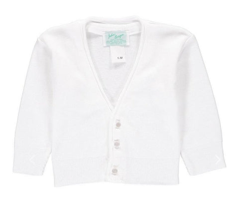 Julius Berger Boy's V-Neck White Cotton Cashmere Cardigan