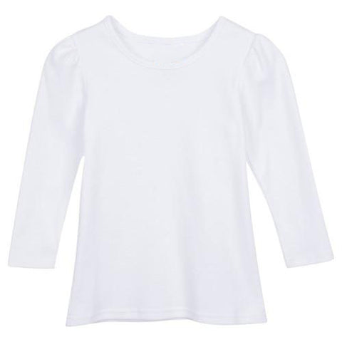Girl's Long Sleeve Blank Plain T-Shirt (No Ruffle)