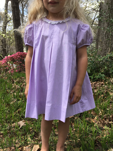 Lavender Gingham Blank Pleat Dress