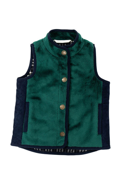 Vest in Green with Faux Suede
