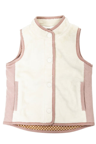 Vest in Cream with Faux Suede