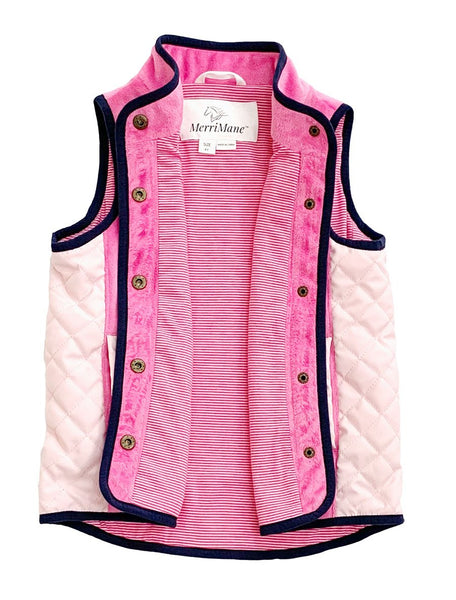Vest in Pink with Light Pink Piping and Quilting