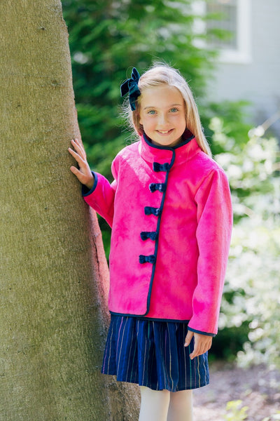 Bow Jacket in Pink with Navy