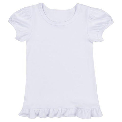 Girl's Blank Ruffled T-Shirt
