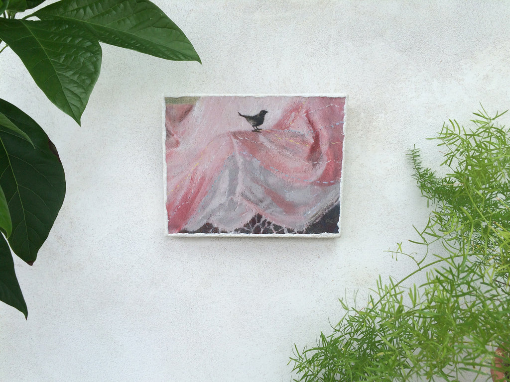 """Little Bird on Pink Linen"""