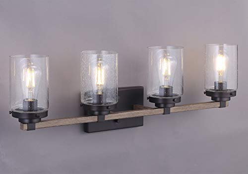 Bathroom Vanity Light Fixture,4-Light Wooden Wall Sconce with Bubble Glass Shade,Includes 4 LED Filament Bulbs