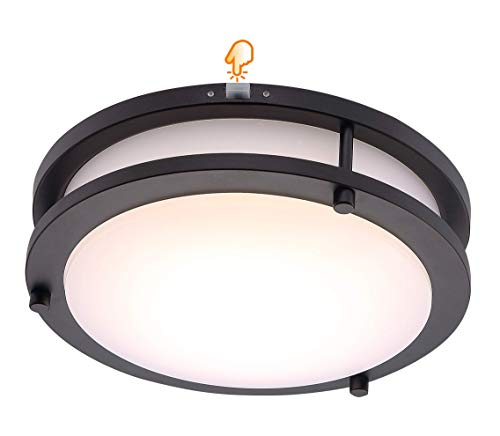 LED Flush Mount Ceiling Light,10 inch,120V 17W Dimmable 1050lm,3000K/4000K/5000K Adjustable,CRI 90+ Lighting Fixture for Kitchen,Hallway,Bathroom,Stairwell,Oil Rubbed Bronze Finish
