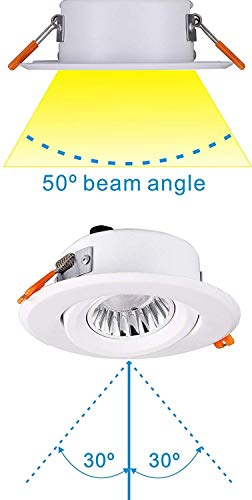 [4-Pack] 4inch LED Recessed Downlight with Junction Box, IC Rated, Air Tight, Gimbal Retrofit Downlight Dimmable,9W CRI90 Daylight 5000K,Beam Angel 50°,IC Rated,Damp Location-4 Pack