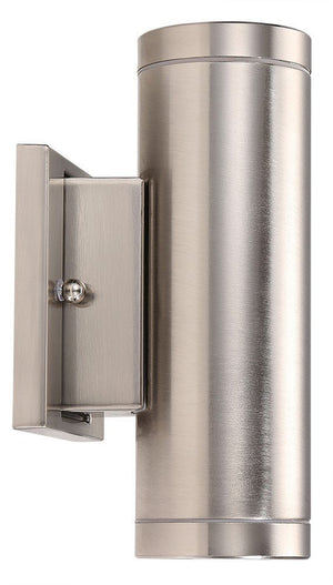 LED Outdoor Up & Down Wall Light, 2-inch, 18W, Brushed Nickel Finish, Warm White (3000K)