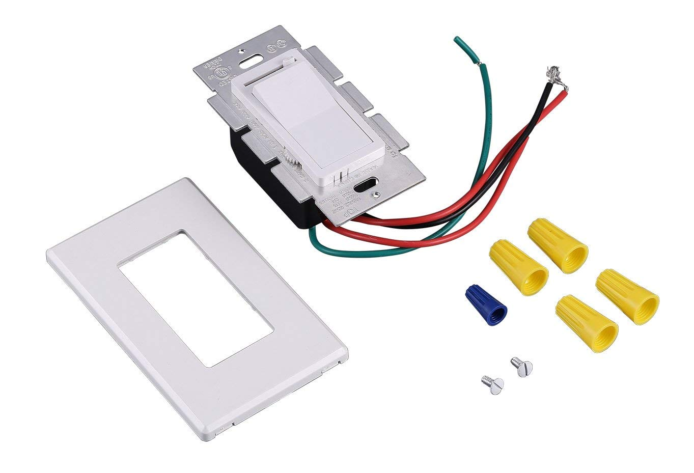 In Wall Dimmer Switch For LED Light/CFL/Incandescent, 3-way Single Pole, Cover Plate Included, White