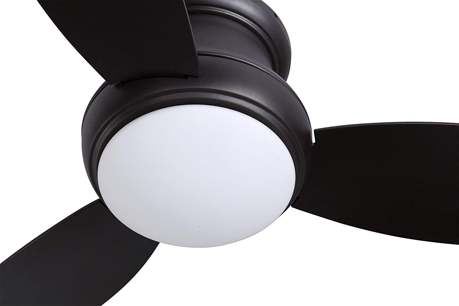"Flush Mount Ceiling Fan with LED Light, 44"", 62W 3000K 1050lm, ORB Finish, Remote Control"