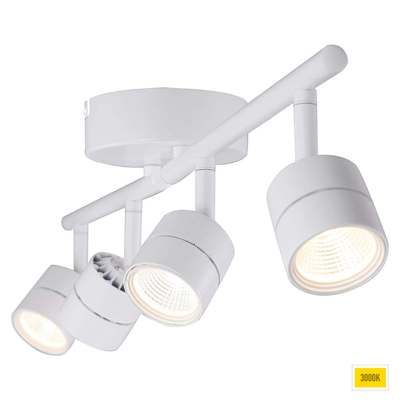 30W 4-head LED Ceiling Dimmable Track Light, ETL, Narrow Flood Light, 2400lm 3000K CRI90, Flexibly Rotatable Light Head, for Accent / Decorative Lighting