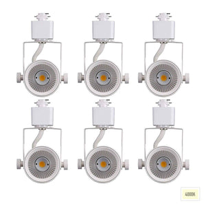 [6-Pack] 8W 4000K Cool White Dimmable LED Track Light Head, CRI90+ True Color Rendering Adjustable Tilt Angle Track Lighting Fixture,40° Angle for Accent Retail,White Finish,Halo Type- Pack of 6