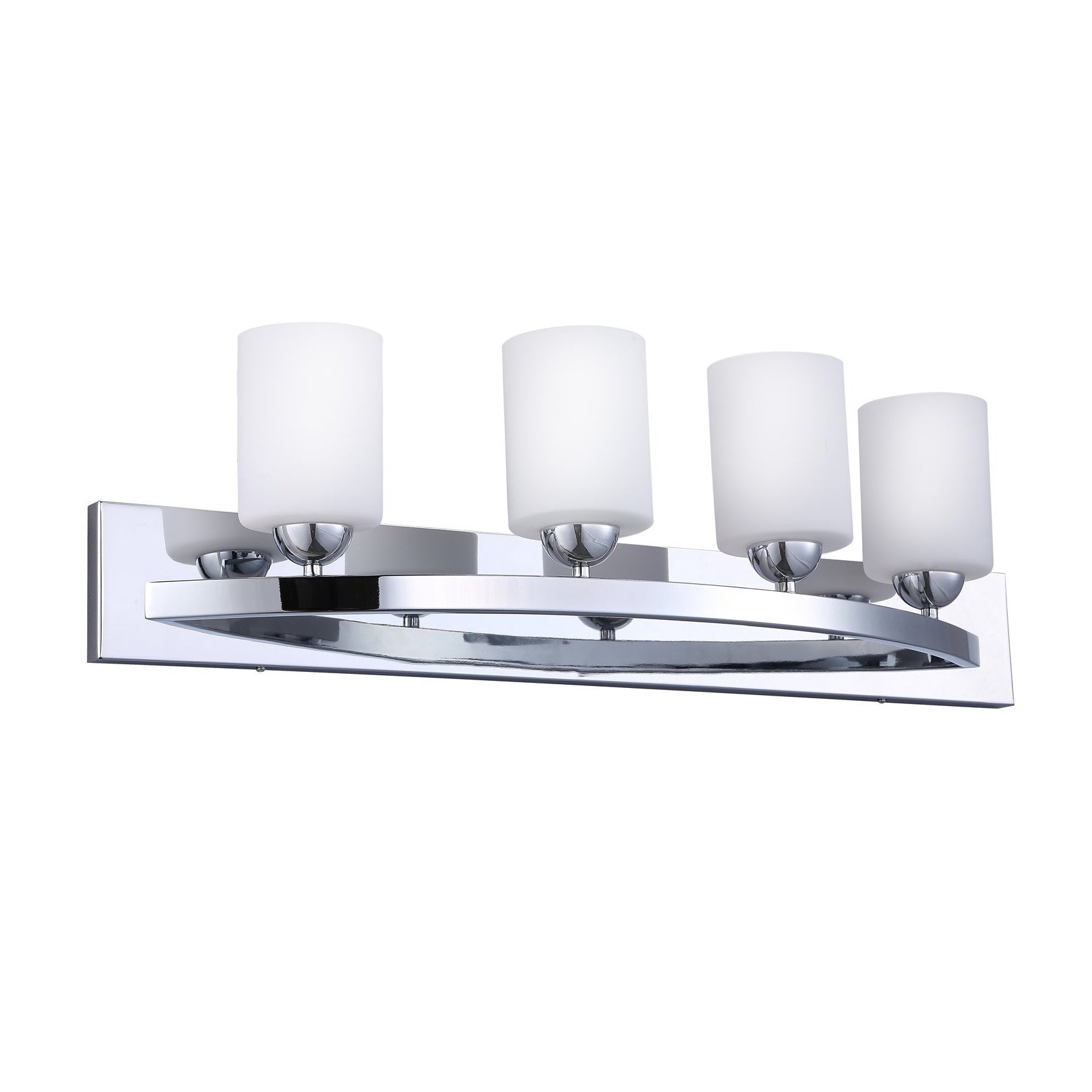 Cloudybay Bath Vanity Light 4-Bulb With Opal Glass Shade Chrome__title