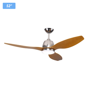 "Flush Mount Ceiling Fan with LED Light, 52"" 65W 4000K, ST Finish, Remote Control"