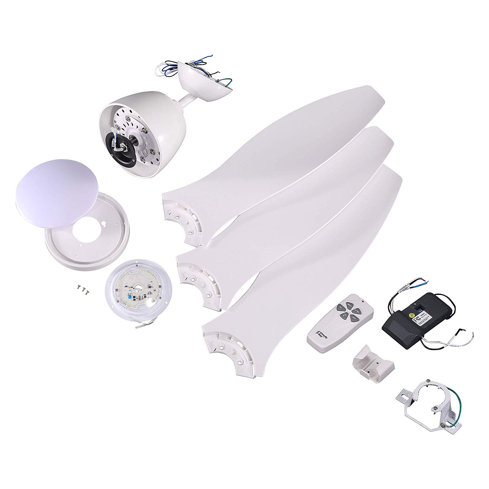 "Flush Mount Ceiling Fan with LED Light, 52"" 65W 4000K, White Finish, Remote Control"