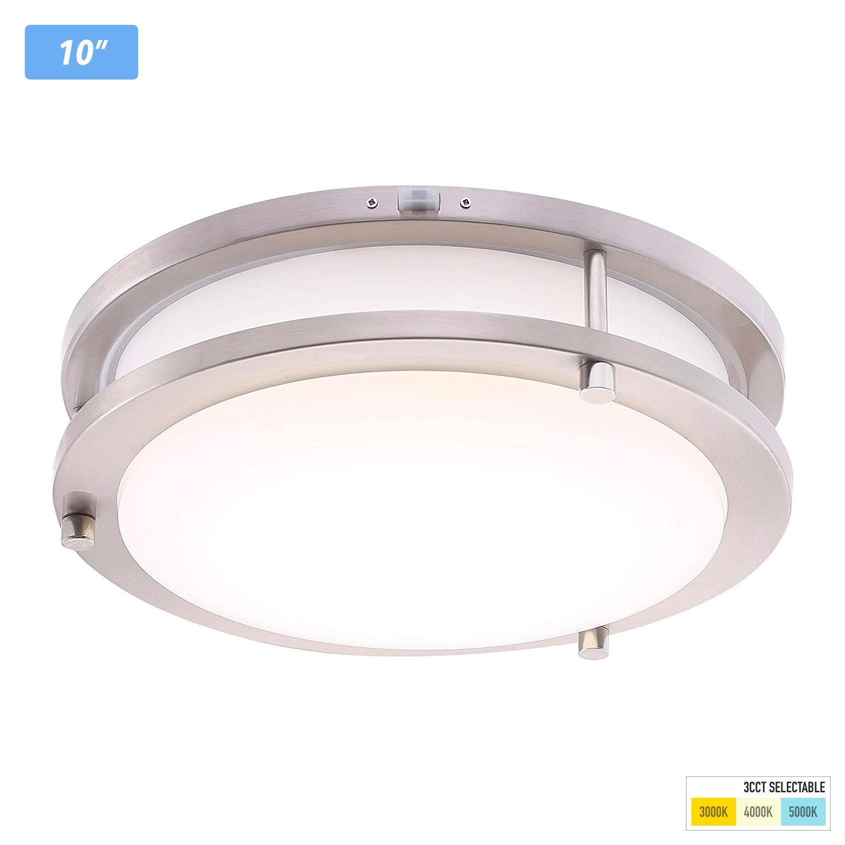 LED Flush Mount Ceiling Light,10 inch,120V 17W Dimmable 1050lm,3000K/4000K/5000K Adjustable,CRI 90+, Brushed Nickel Lighting Fixture for Kitchen,Hallway,Bathroom,Stairwell