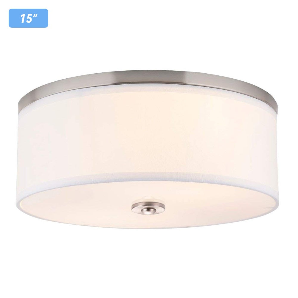 Cloudybay LED Flush Mount Ceiling Light 15-inch 23W White Brushed Nickel__title